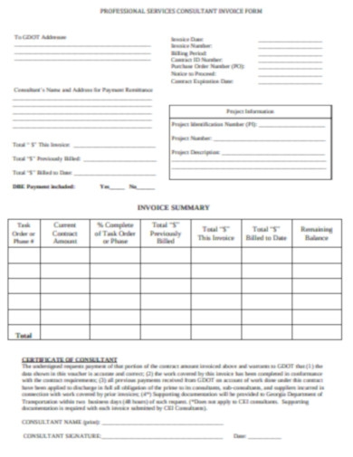 professional services invoice form