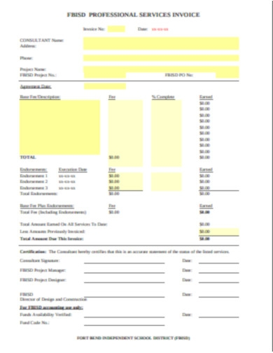 professional services payment invoice