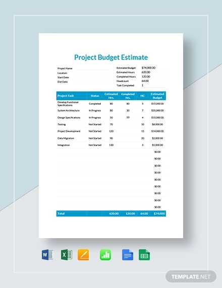 project budget estimate template