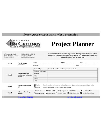 project planner example
