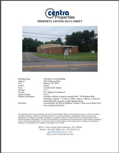 property listing data sheet