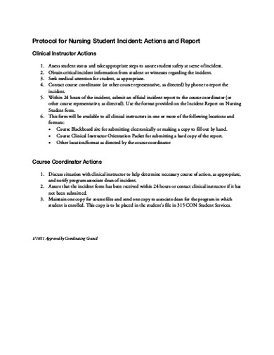 protocol student incident report