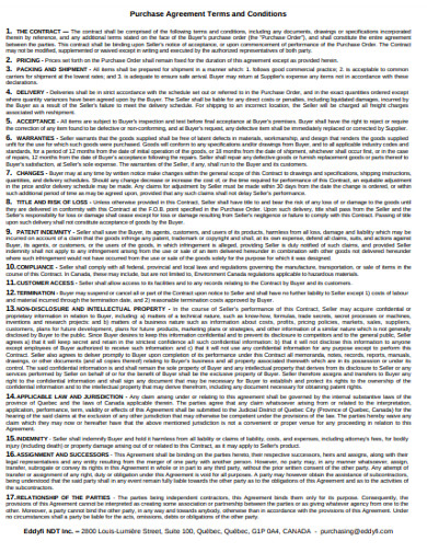 purchase agreement terms and conditions