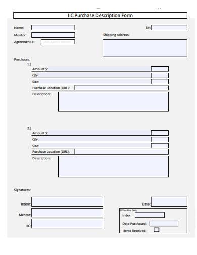purchase description form