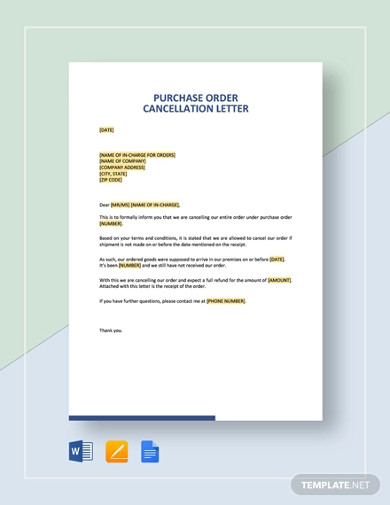 purchase order cancellation letter template1
