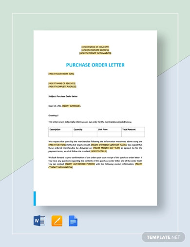 purchase order letter template1