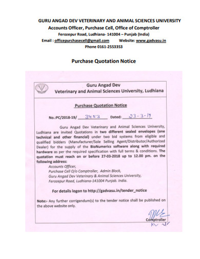 purchase quotation notice