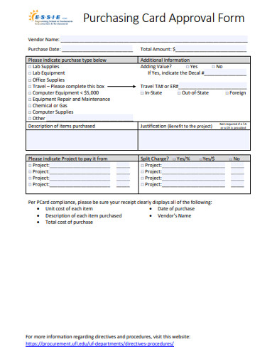 purchasing card approval form