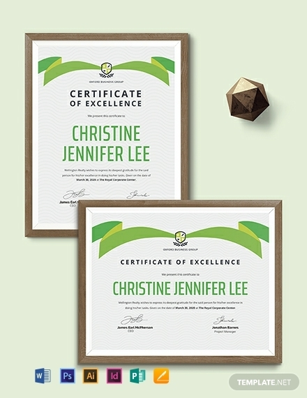 real estate certificate of excellence template