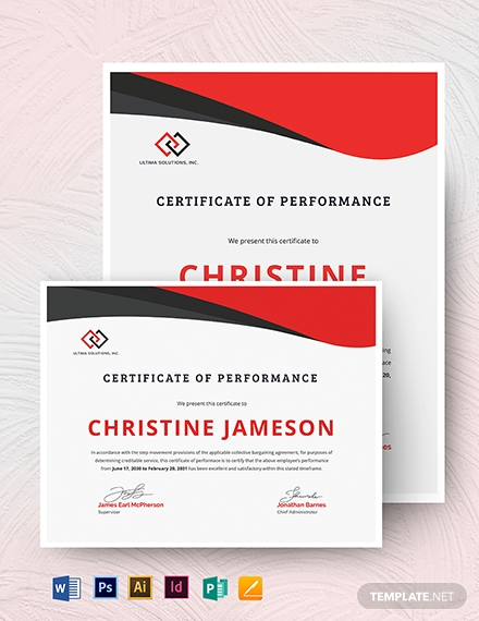 real estate certificate of performance template