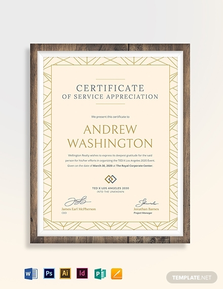 real estate employee certificate of service template