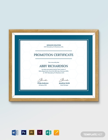 real estate employee promotion certificate template