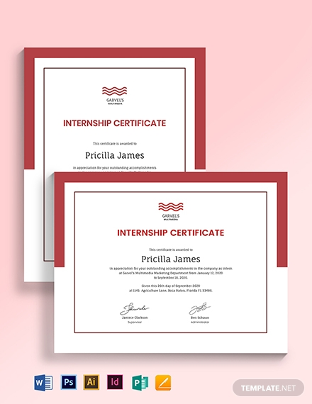 real estate internship certificate template