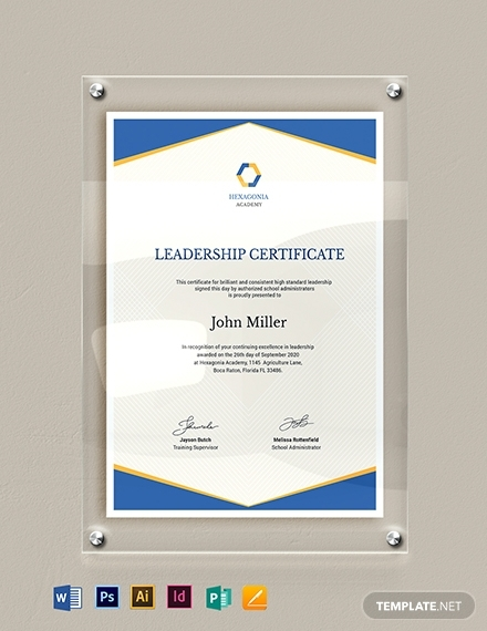 real estate leadership certificate template