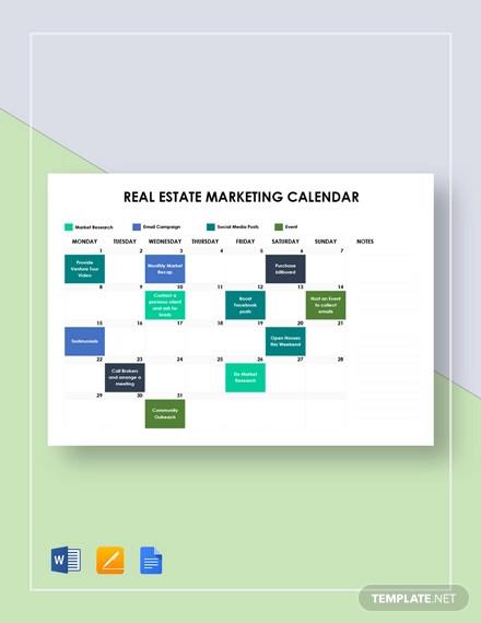 real estate marketing calendar template