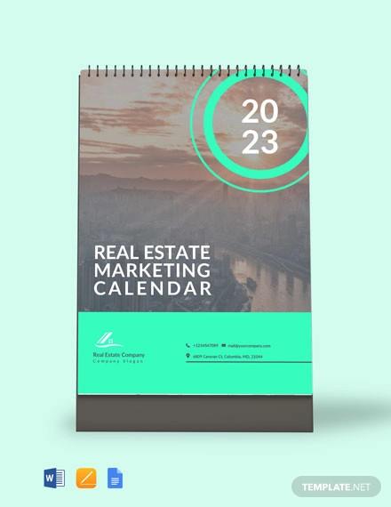 real estate marketing desk calendar template