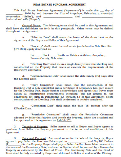 real estate purchase agreement in pdf