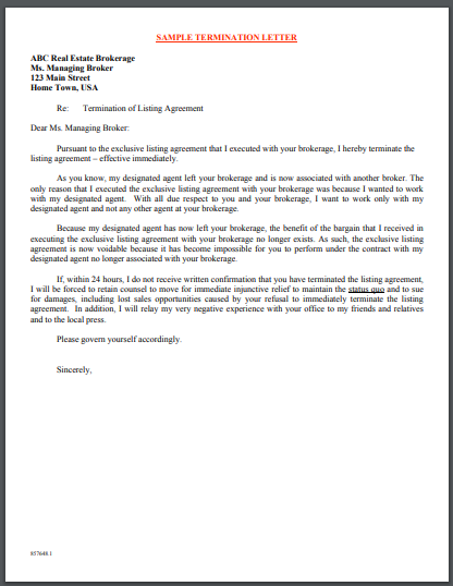 real estate service termination letter