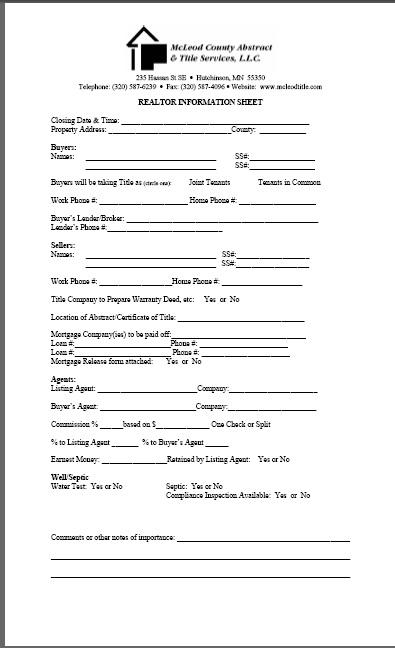 realtor information sheet