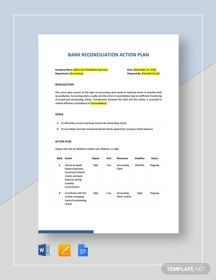 reconciliation accounting action plan template