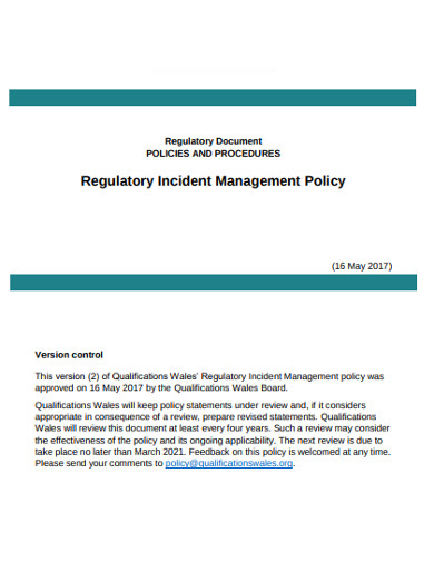 regulatory incident management policy