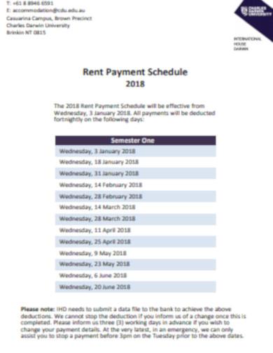 rent payment schedule