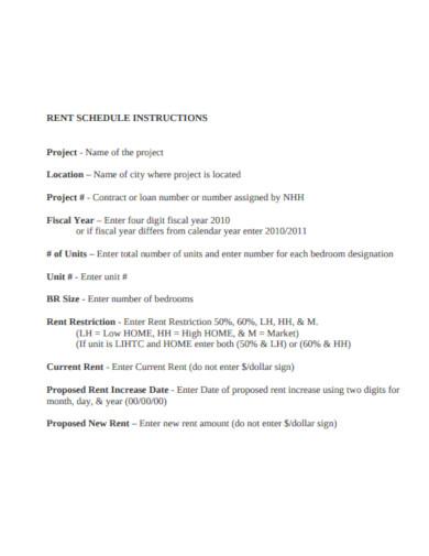 rent schedule instructions