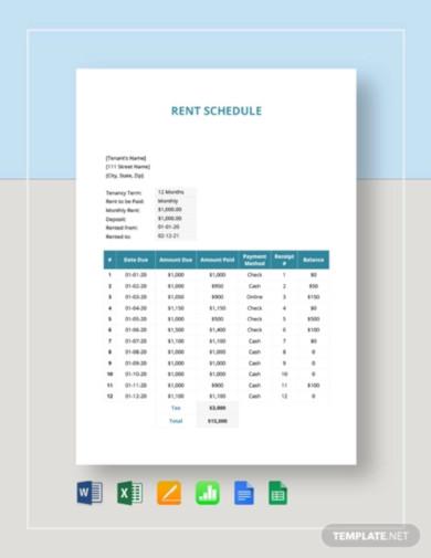 rent schedule template