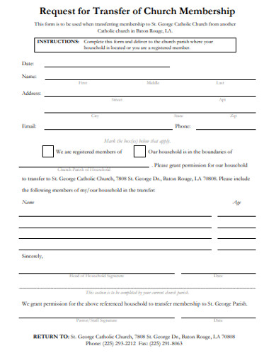 request for transfer of church membership form