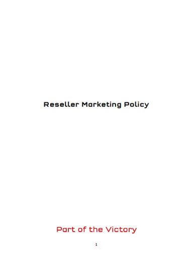 reseller marketing policy