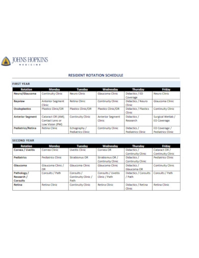 resident rotation schedule