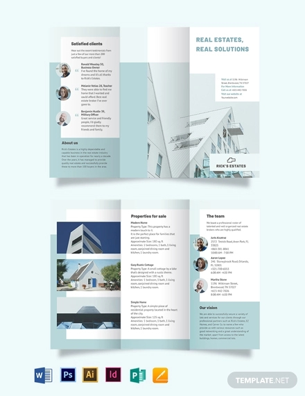 residential realestatebroker tri fold brochure template