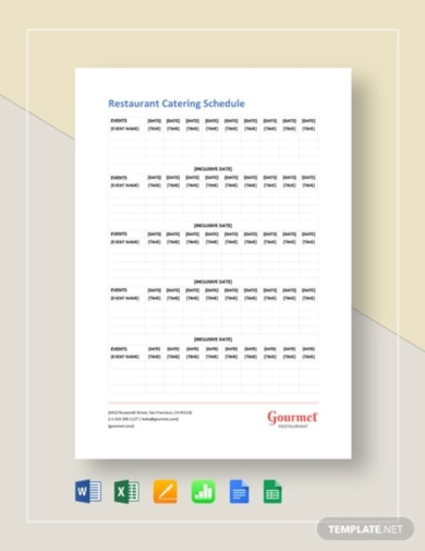 restaurant catering schedule template