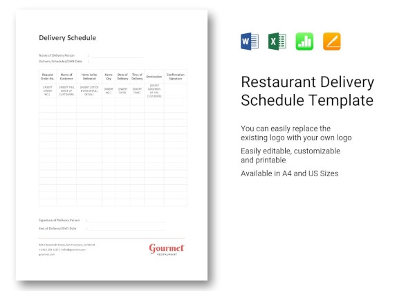restaurant delivery schedule template