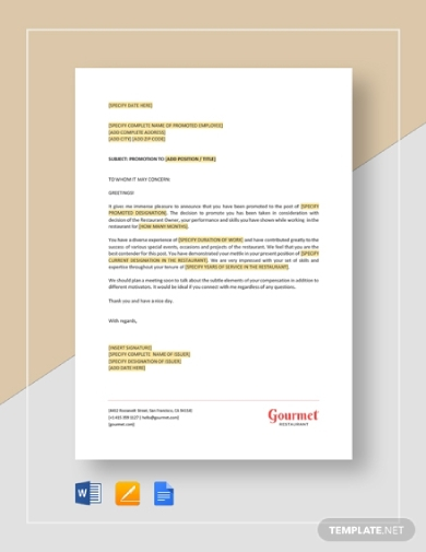 free 10  promotion letter examples  u0026 templates  download