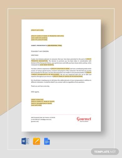 restaurant employee promotion letter