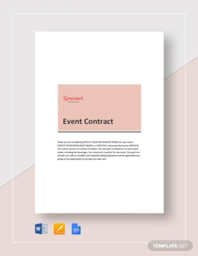 restaurant event contract