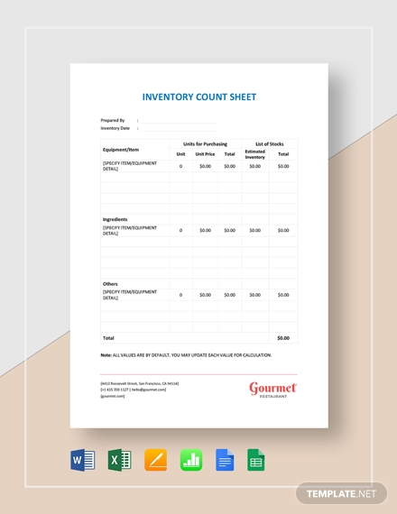 restaurant inventory count sheet template1