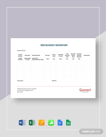 restaurant inventory sheet template1