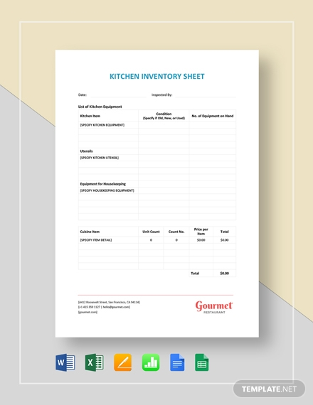 restaurant kitchen inventory sheet