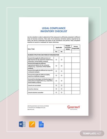 restaurant legal compliance inventory