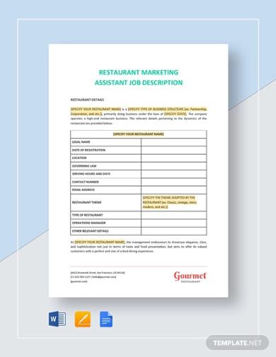 restaurant marketing assistant job description template