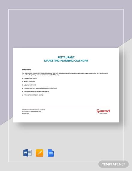 restaurant marketing planning calendar template1