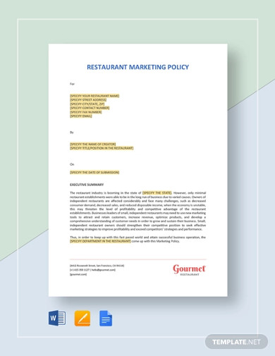 restaurant marketing policy template