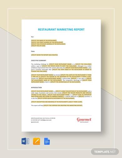 restaurant marketing report template