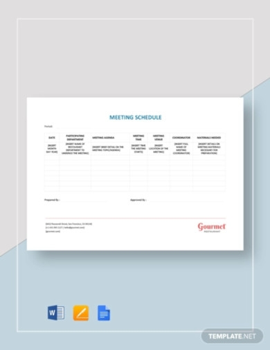 restaurant meeting schedule template1