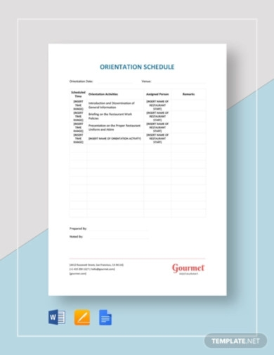 restaurant orientation schedule template