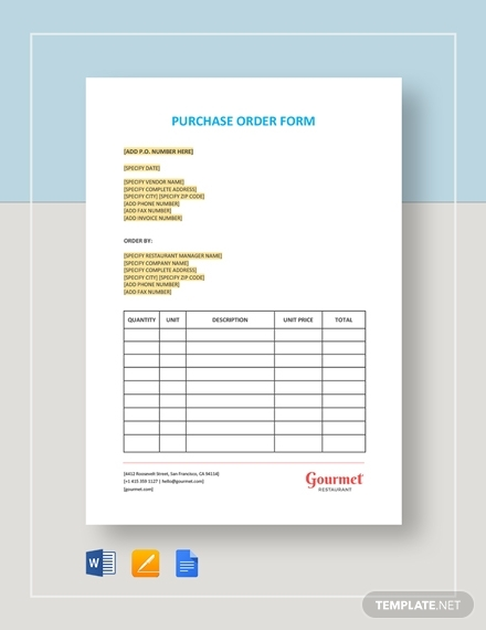 restaurant purchase order form templates