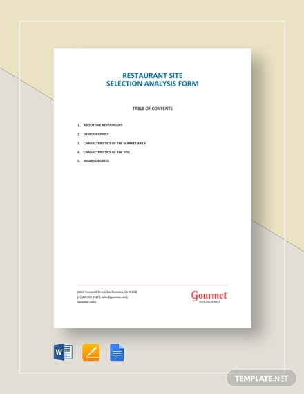 restaurant site selection analysis form template