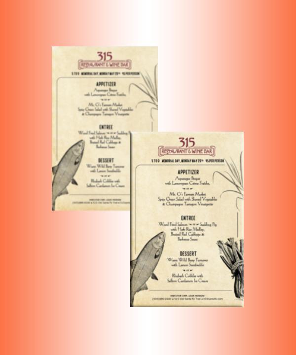 restaurant and bar memorial day menu